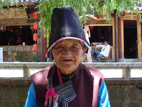 Chinese old lady in Lijang, China